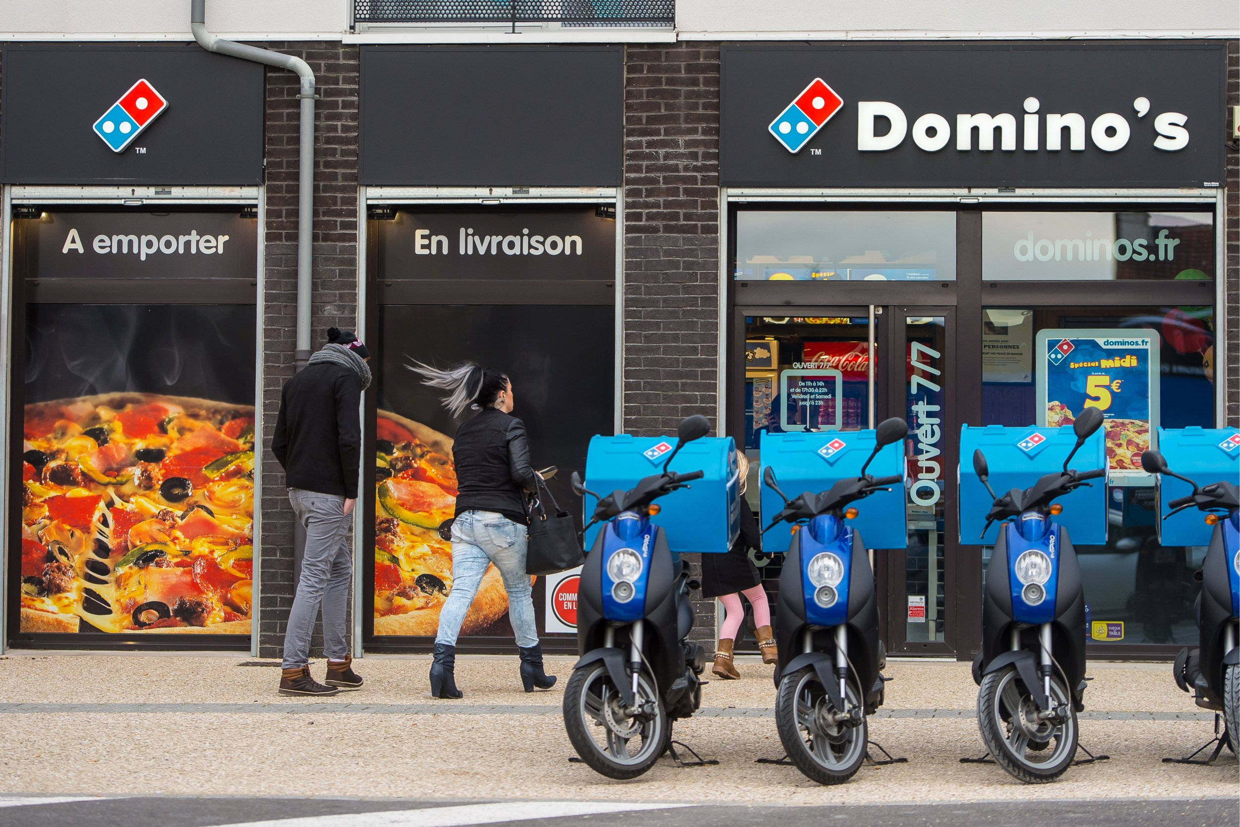 People Head For A Dominos Pizza Branch Calais France February 12 The Company Has Carried Out Worlds First Commercial Drone Delivery Of