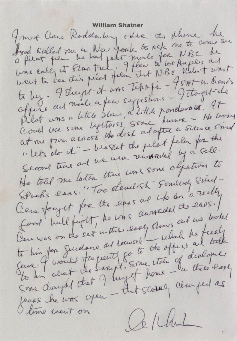Shatner letter