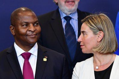 Faustin-Archange Touadera and Federica Mogherini