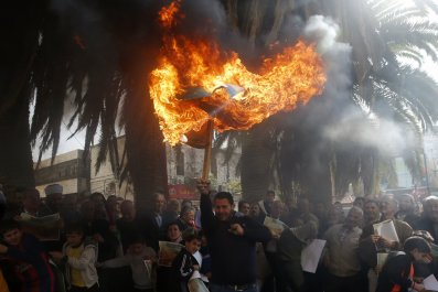 Palestinian protest against mosque-silencing bill