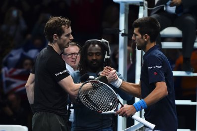 Andy Murray with Novak Djokovic