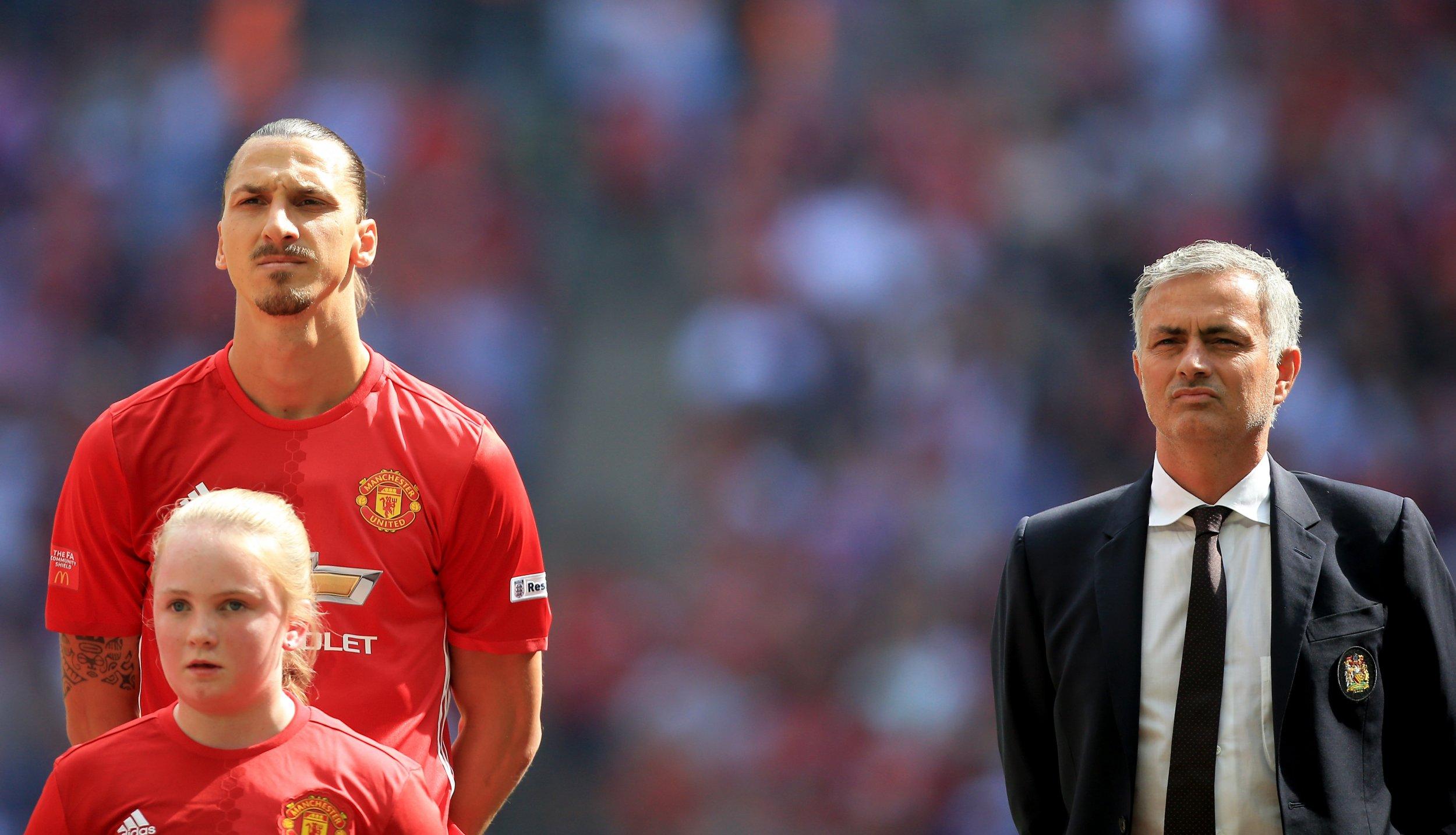 Zlatan Ibrahimovic, left, with Manchester United manager Jose Mourinho.