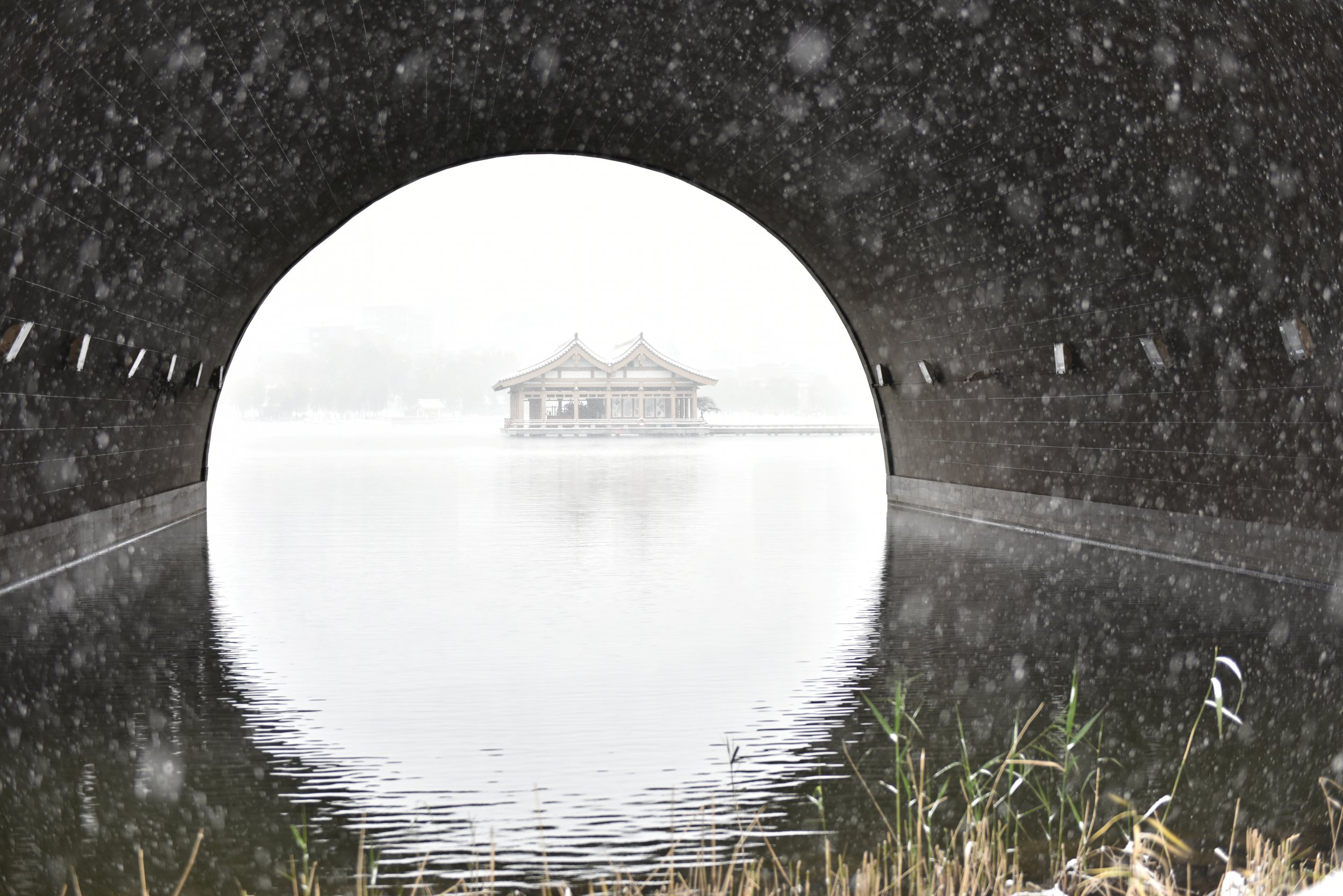 Pavilions on a lake in Xi'an, China