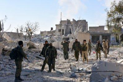 Syrian regime soldiers in Aleppo