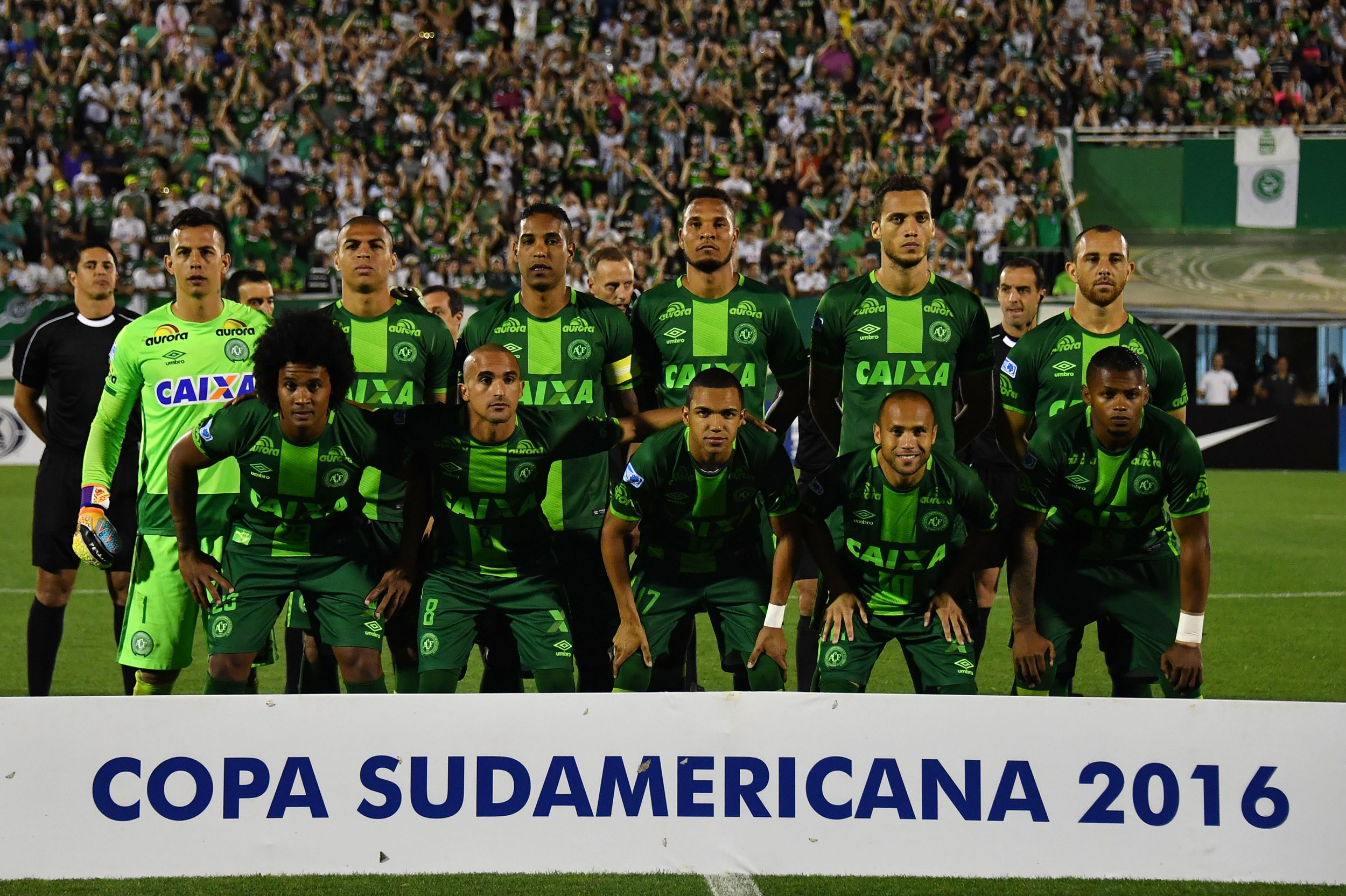 Brazilian football team Chapecoense poses for pictures.