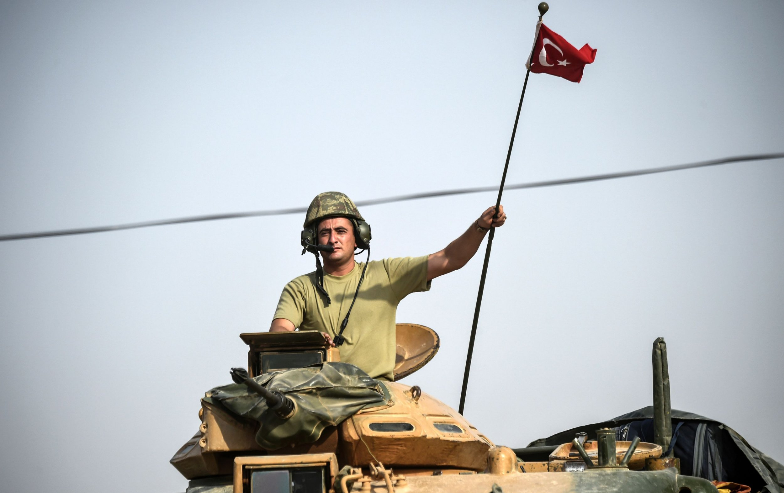 Turkish soldier entering Syria