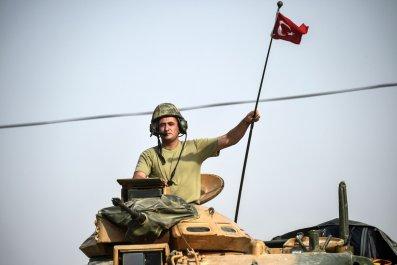 Turkish soldier entering Syria