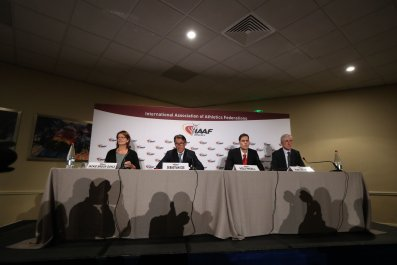 International Association of Athletics Federations (IAAF) President Sebastian Coe, second from left.