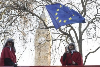 Protesters with an EU flag