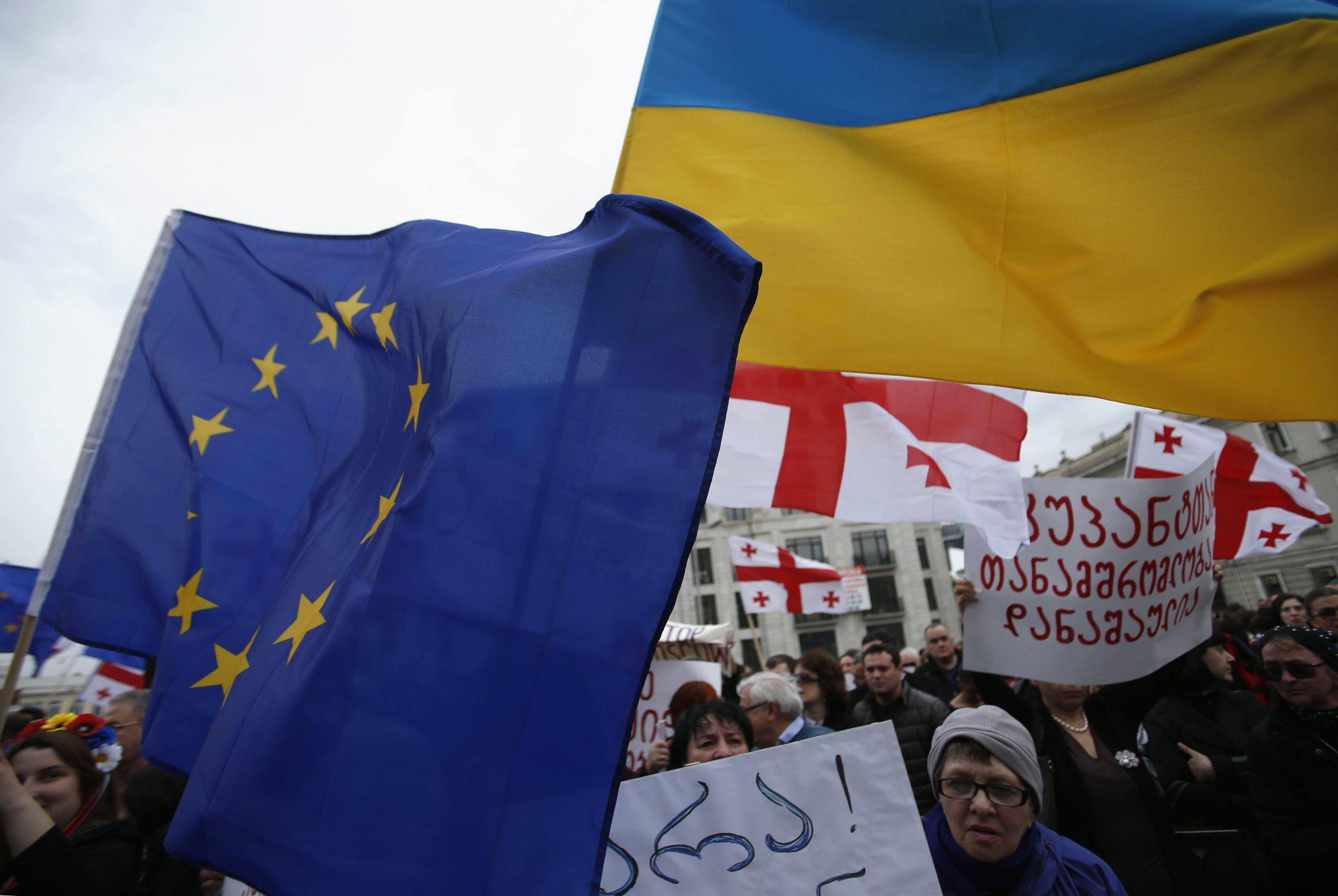 Ukrainian and Georgian flags
