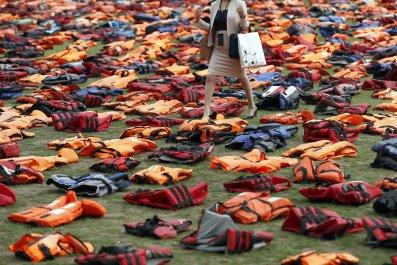 Migrants' lifejackets