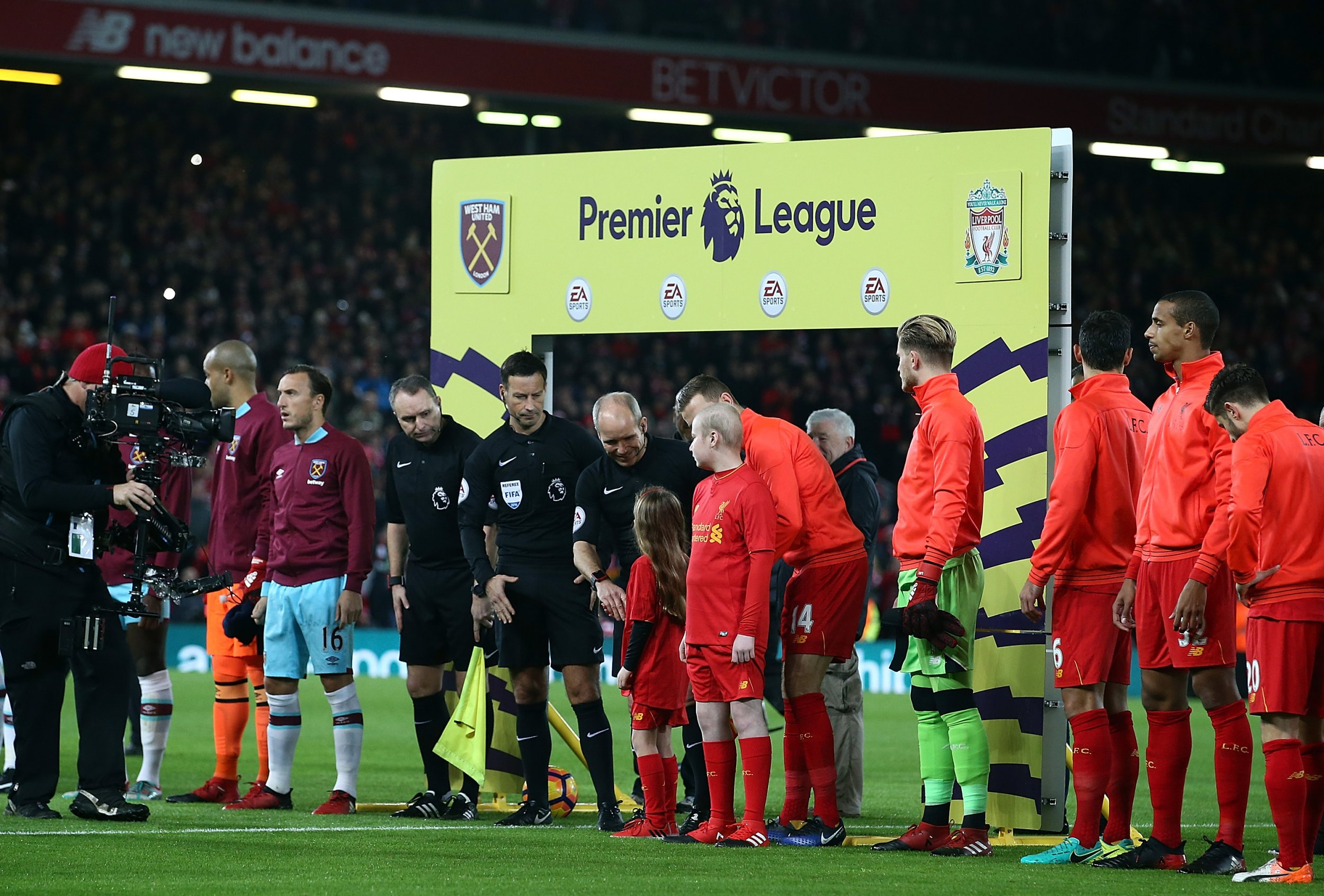 The Premier League game at Anfield between Liverpool and West Ham United.