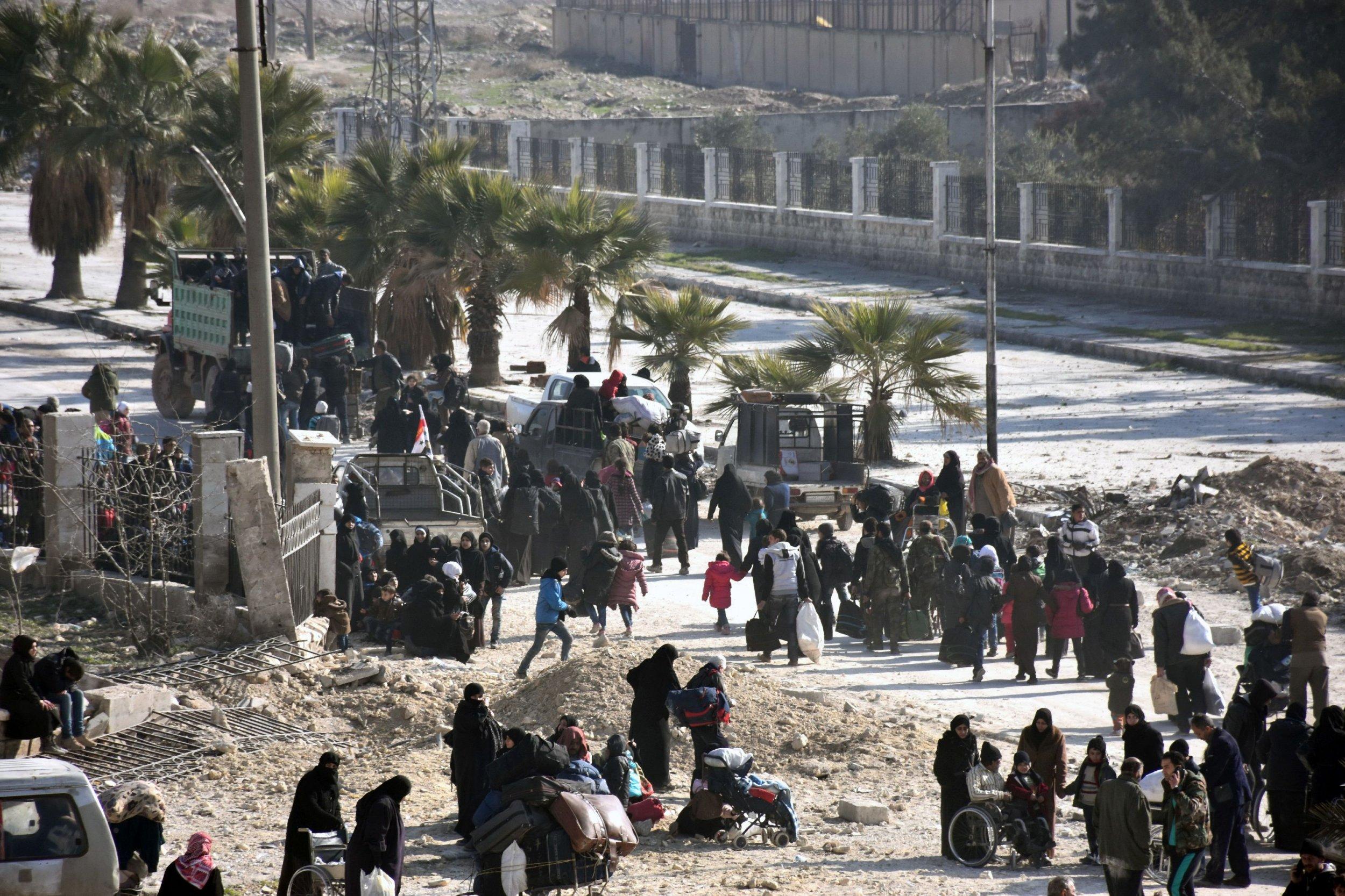Civilians Leaving East Aleppo
