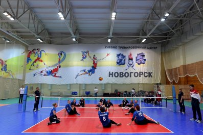Russia's Paralympians compete in a volleyball game at the Novogorsk Training Center, outside Moscow.