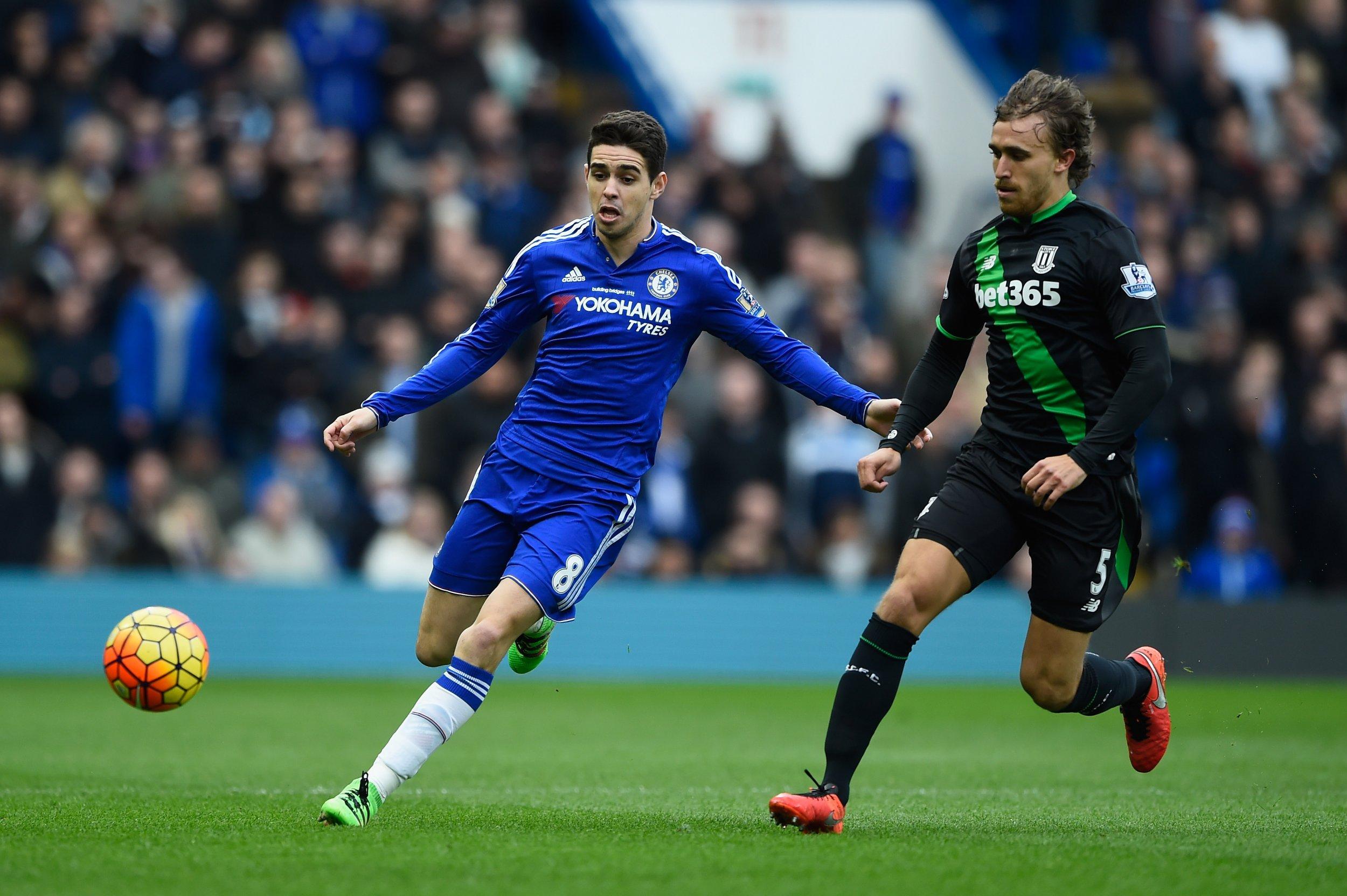 Chelsea midfielder Oscar, left.
