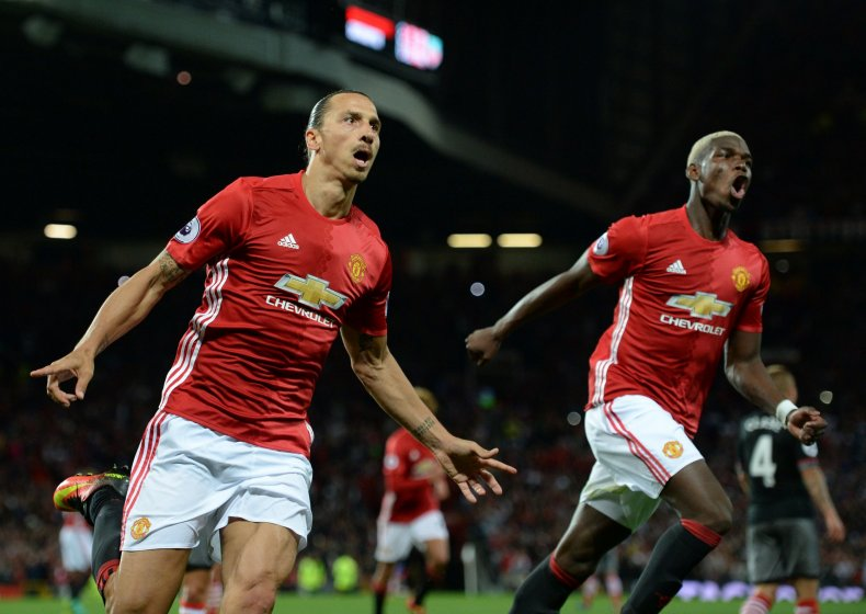 Zlatan Ibrahimovic, left, with Manchester United team mate Paul Pogba.
