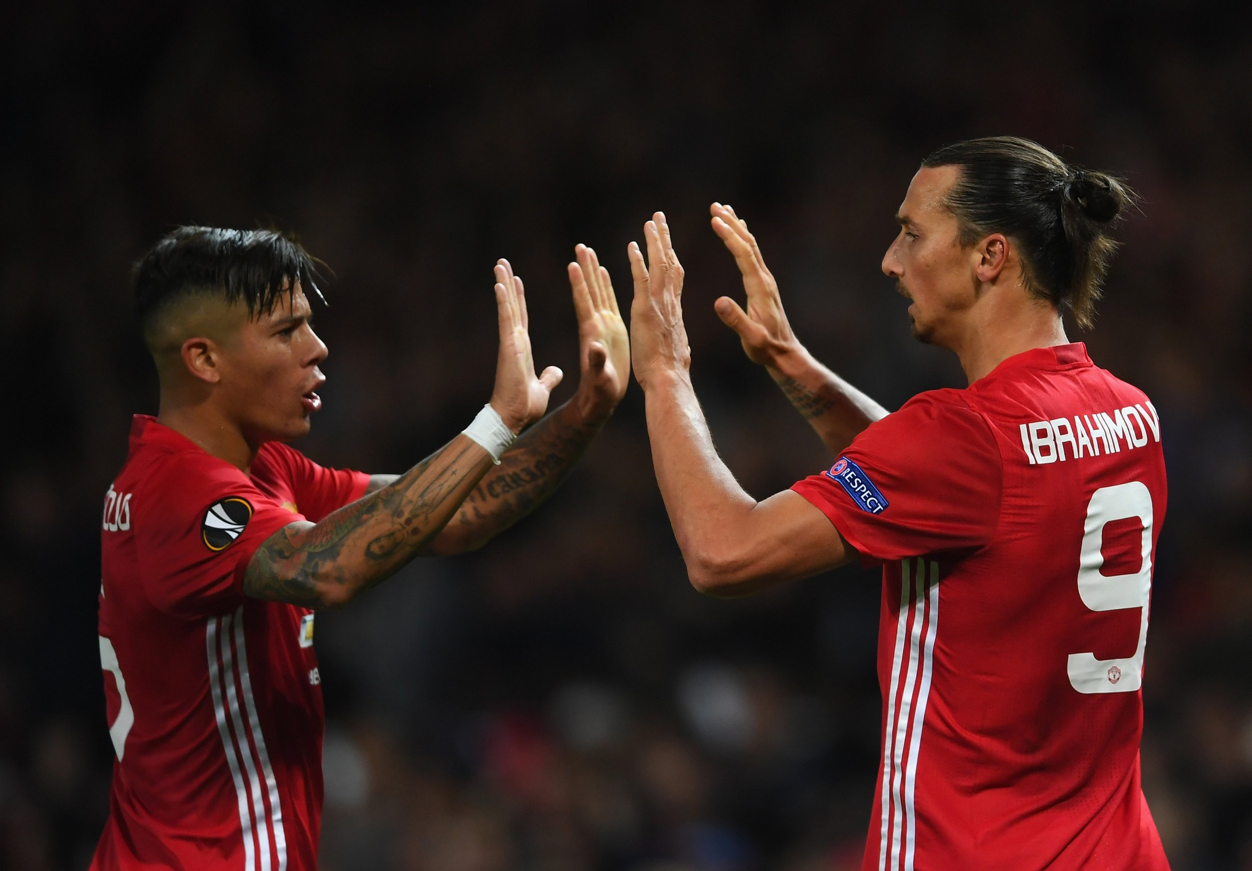 Manchester United's Marcos Rojo, left, with Zlatan Ibrahimovic.