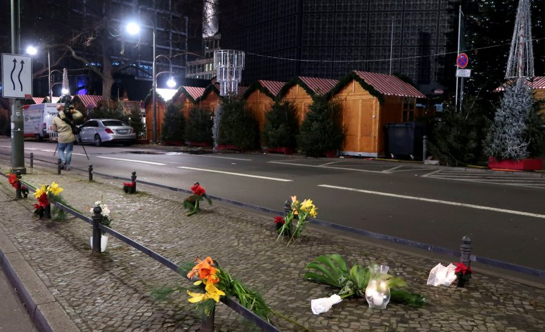 Candles and flowers at the scene of the Berlin attack