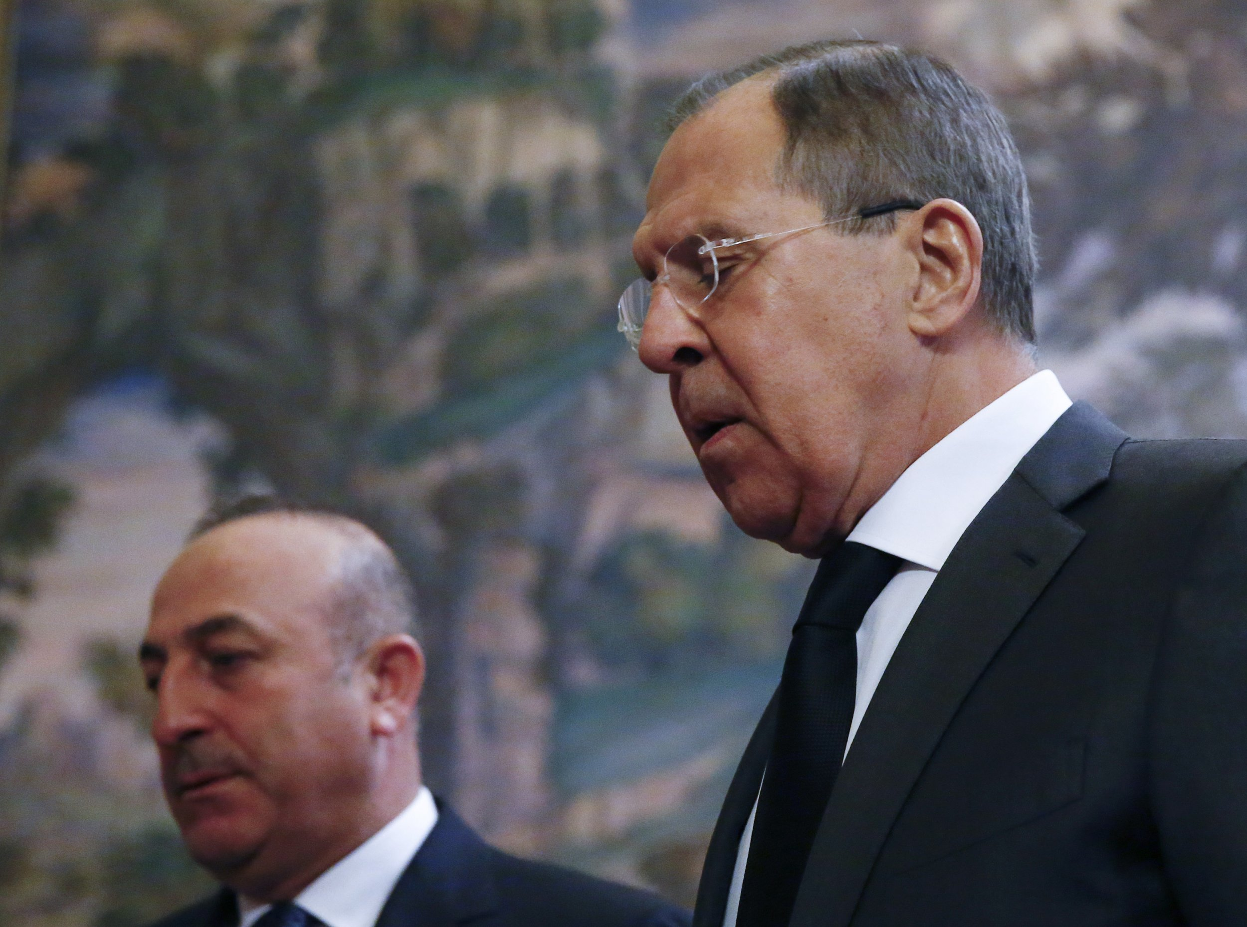 Turkish FM Cavusoglu and Russia's Lavrov