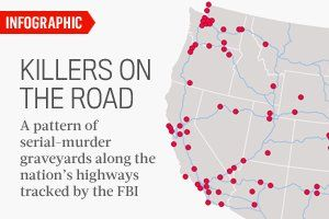 Killers On The Road The FBIs Highway Map - Map of serial killers are active in the us