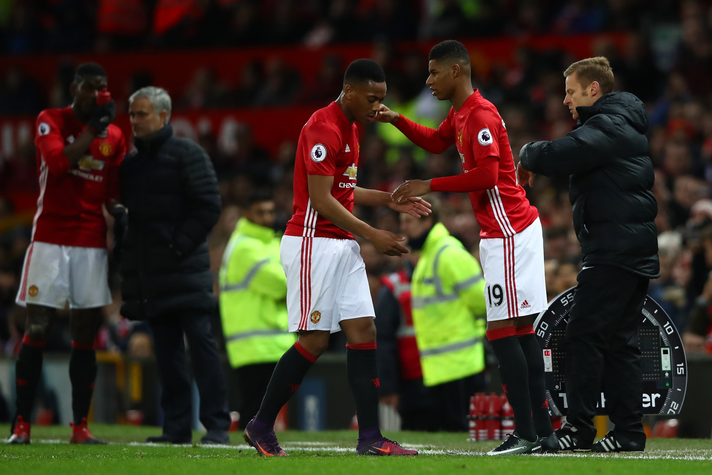 Manchester United strikers Anthony Martial, left, and Marcus Rashford.