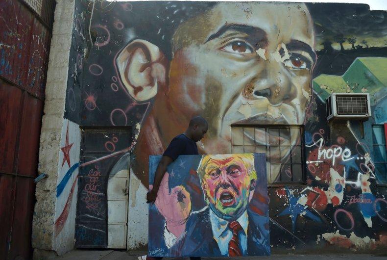 Obama Trump painting Kenya