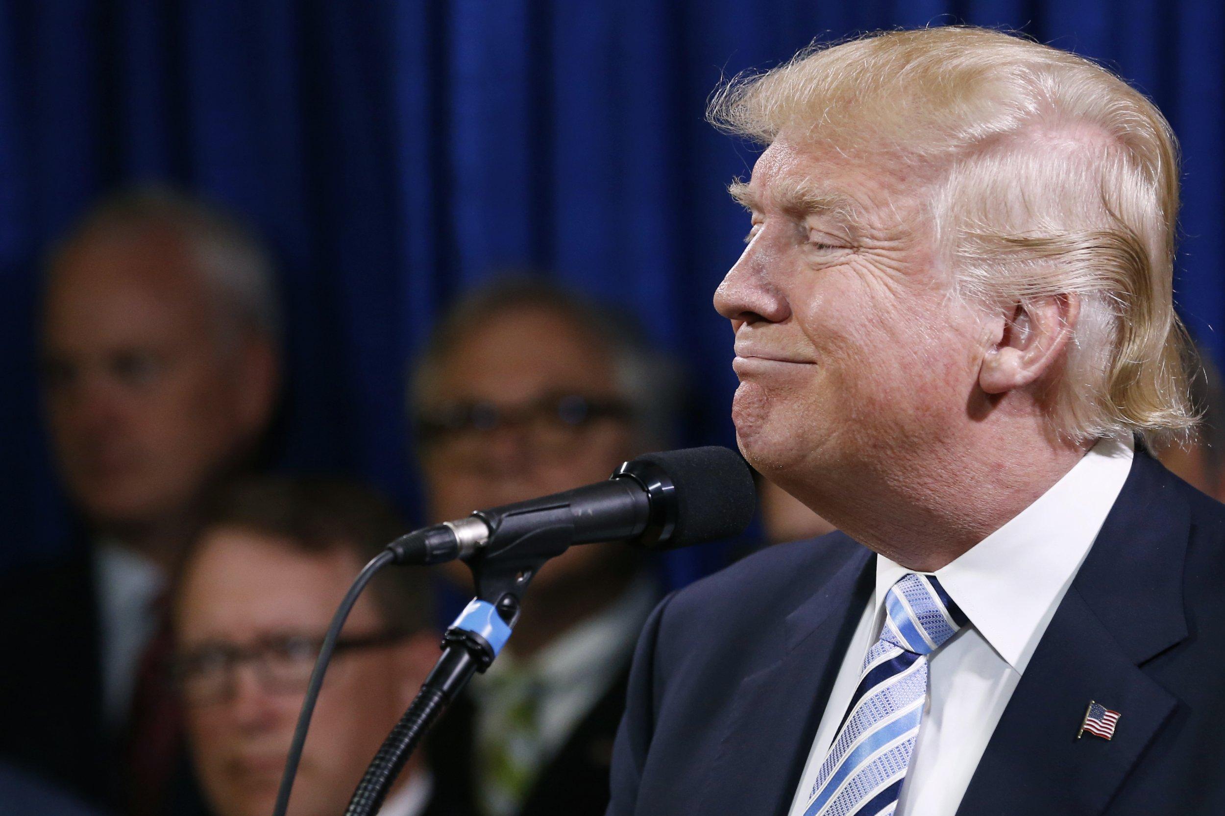 Donald Trump at a press conference in North Dakota