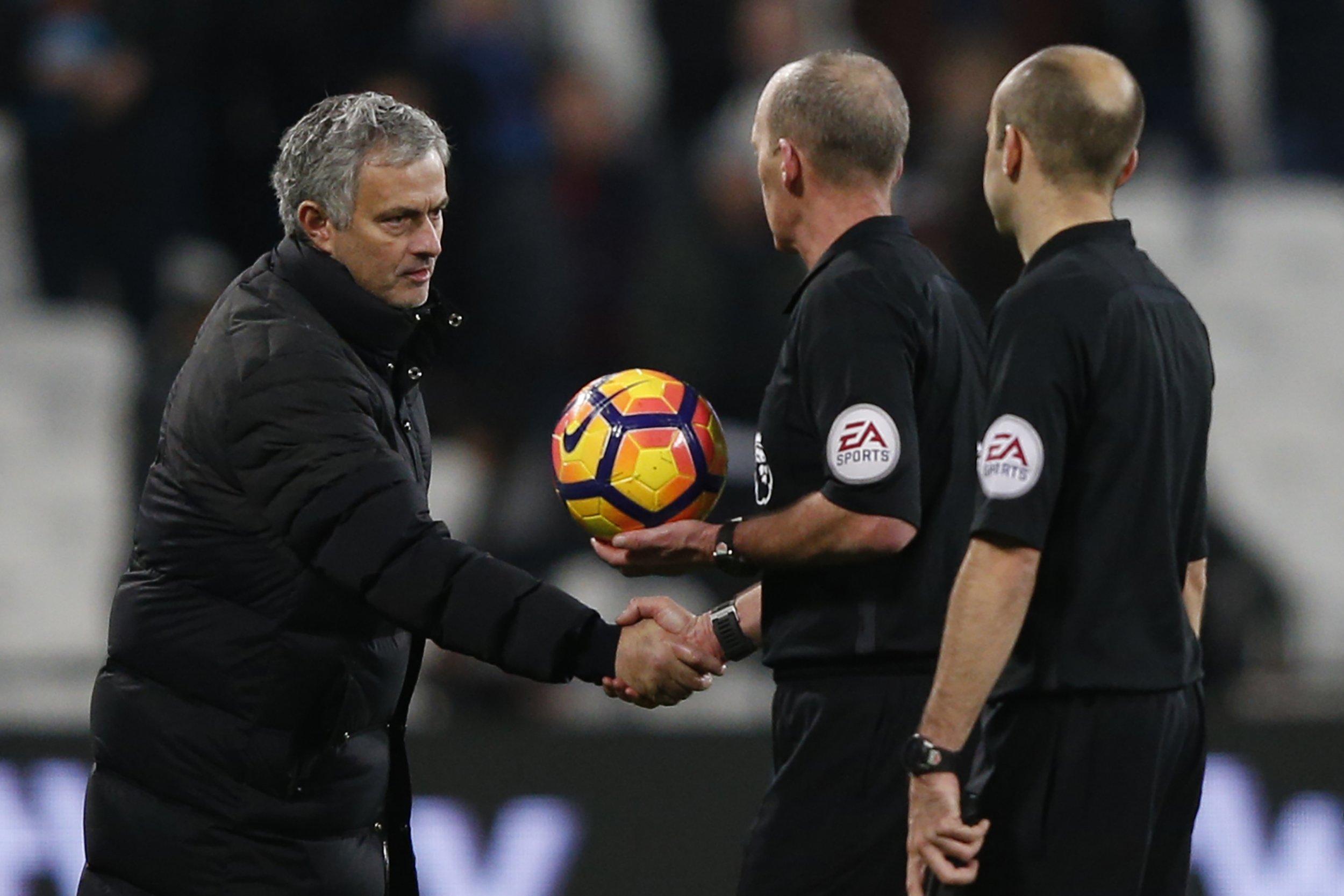 Manchester United manager Jose Mourinho, left.