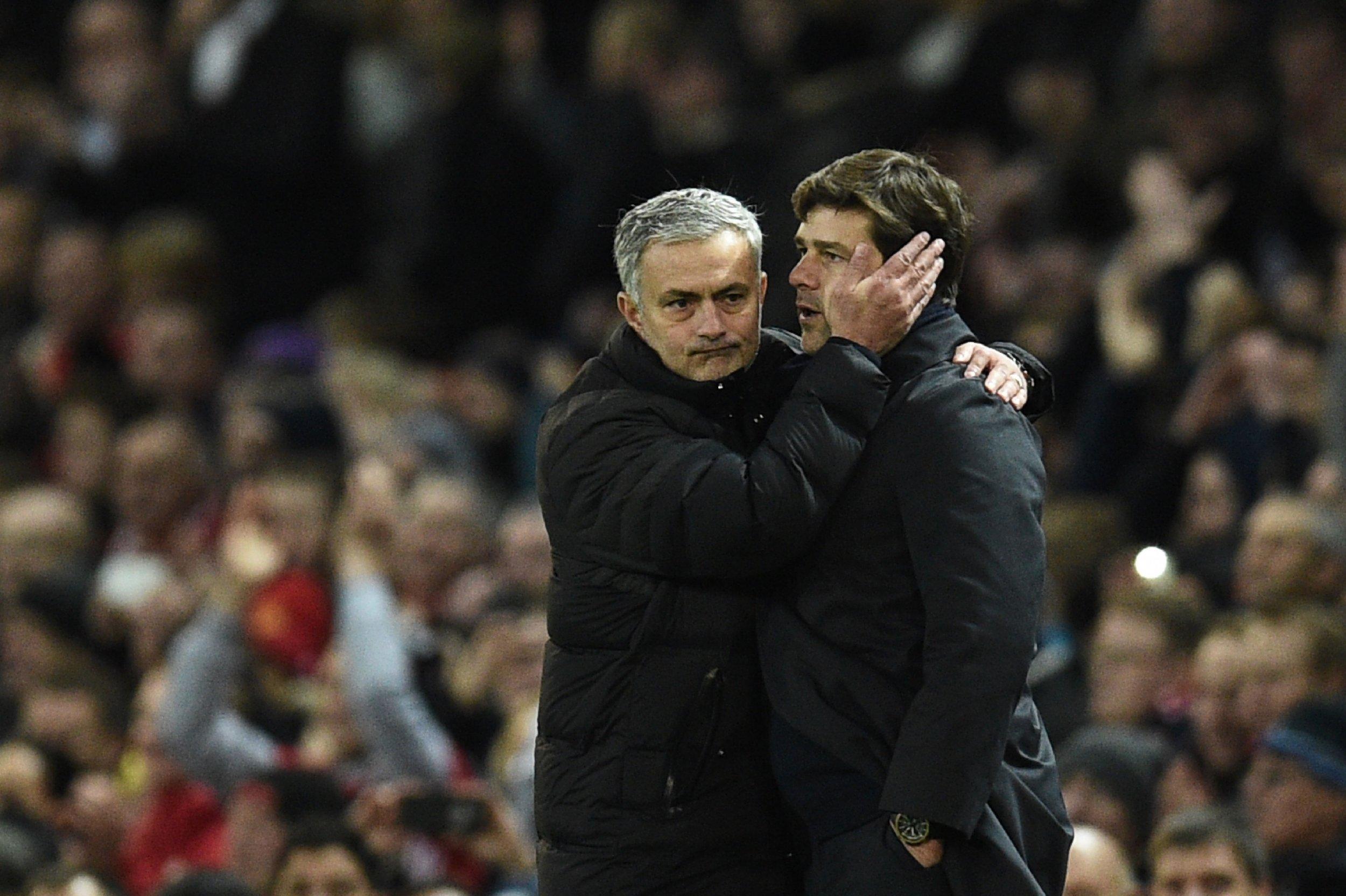 Jose Mourinho, left, with Mauricio Pochettino