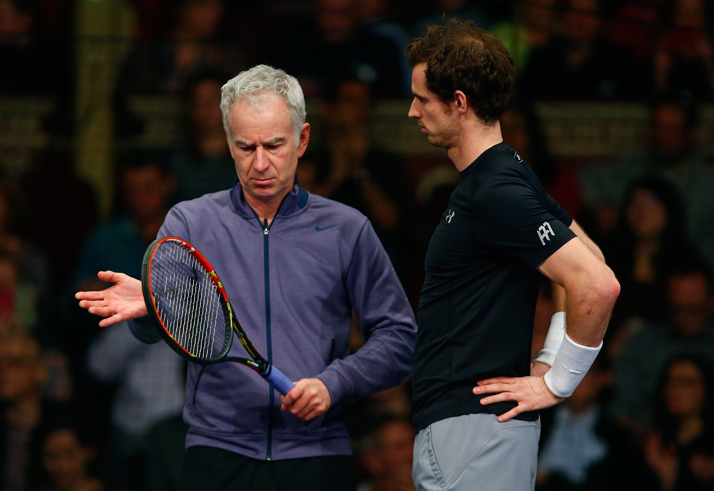 John McEnroe, left, with Andy Murray