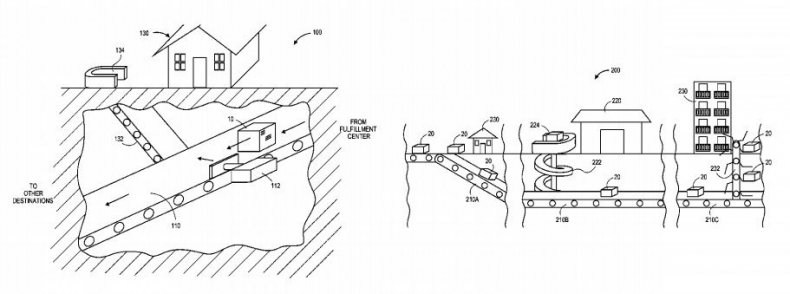 amazon patent tunnel delivery system