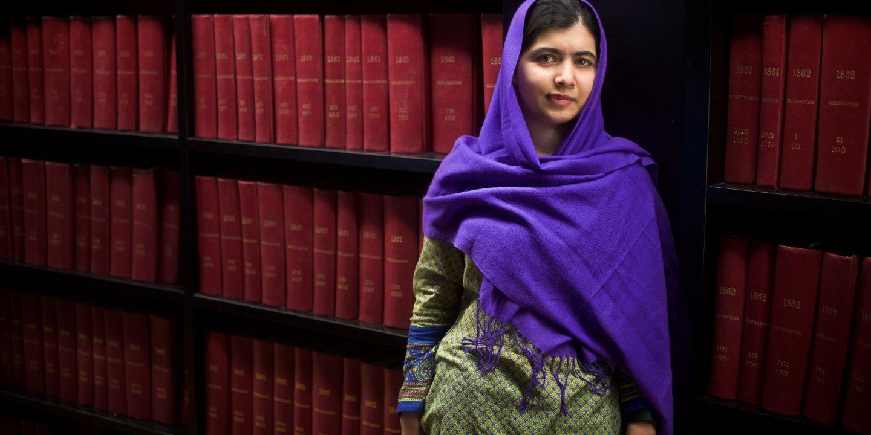 Malala at library