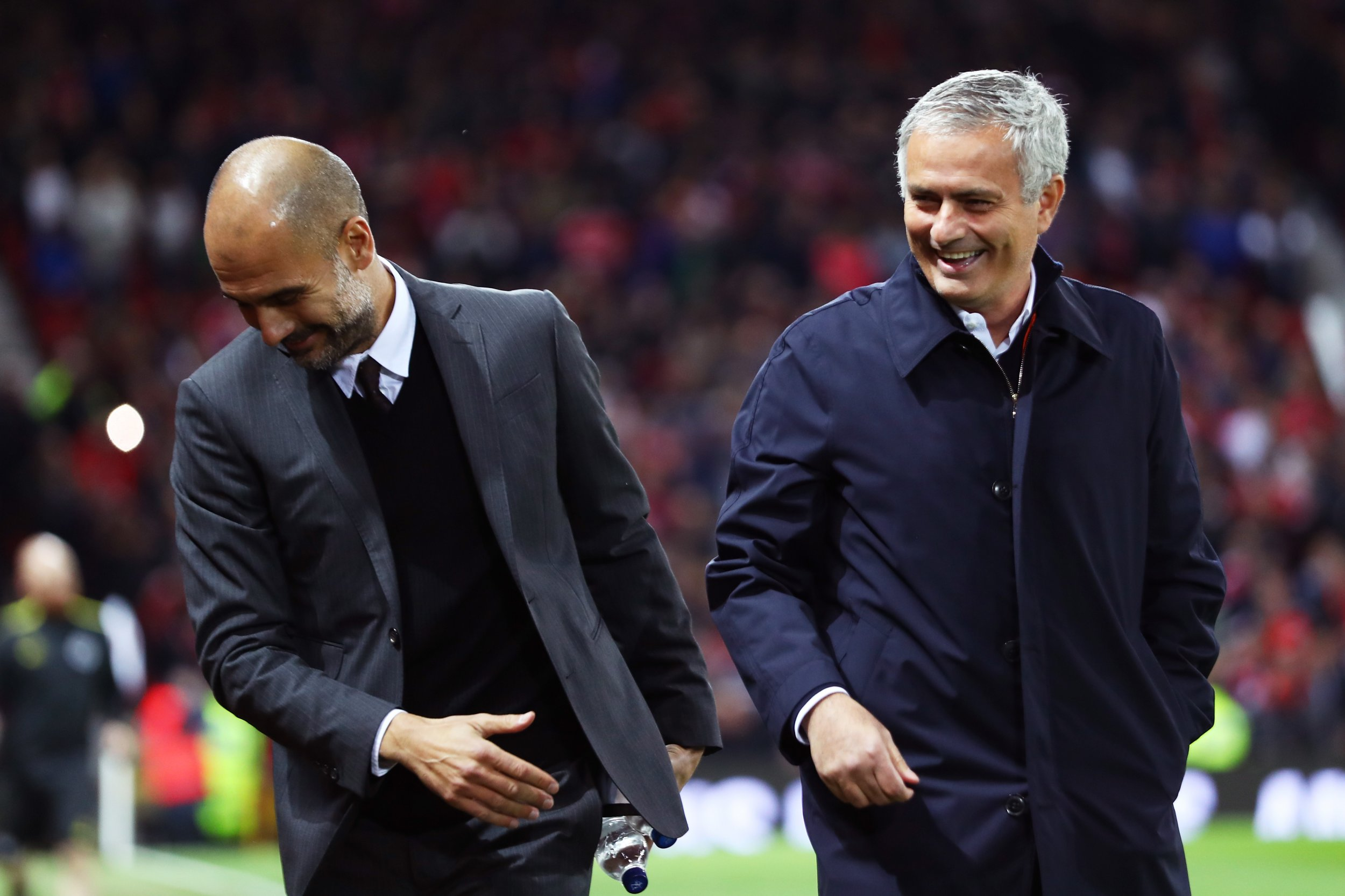 Pep Guardiola, left, with Jose Mourinho.
