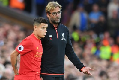 Philippe Coutinho, left, with Liverpool manager Jurgen Klopp.