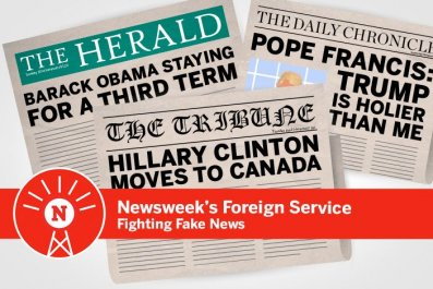 Graphics of newspapers with fake headlines