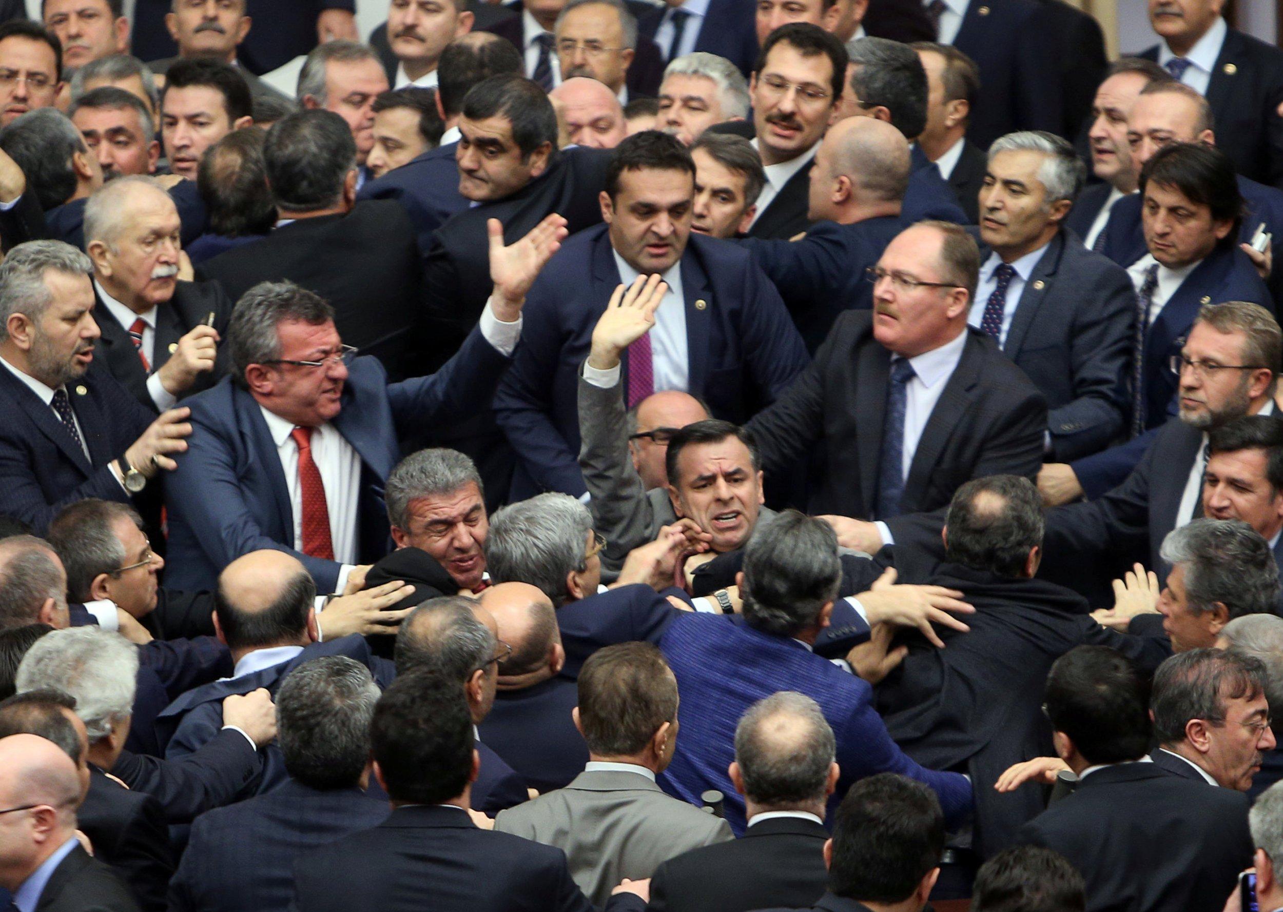 Lawmakers brawl in Turkey's parliament