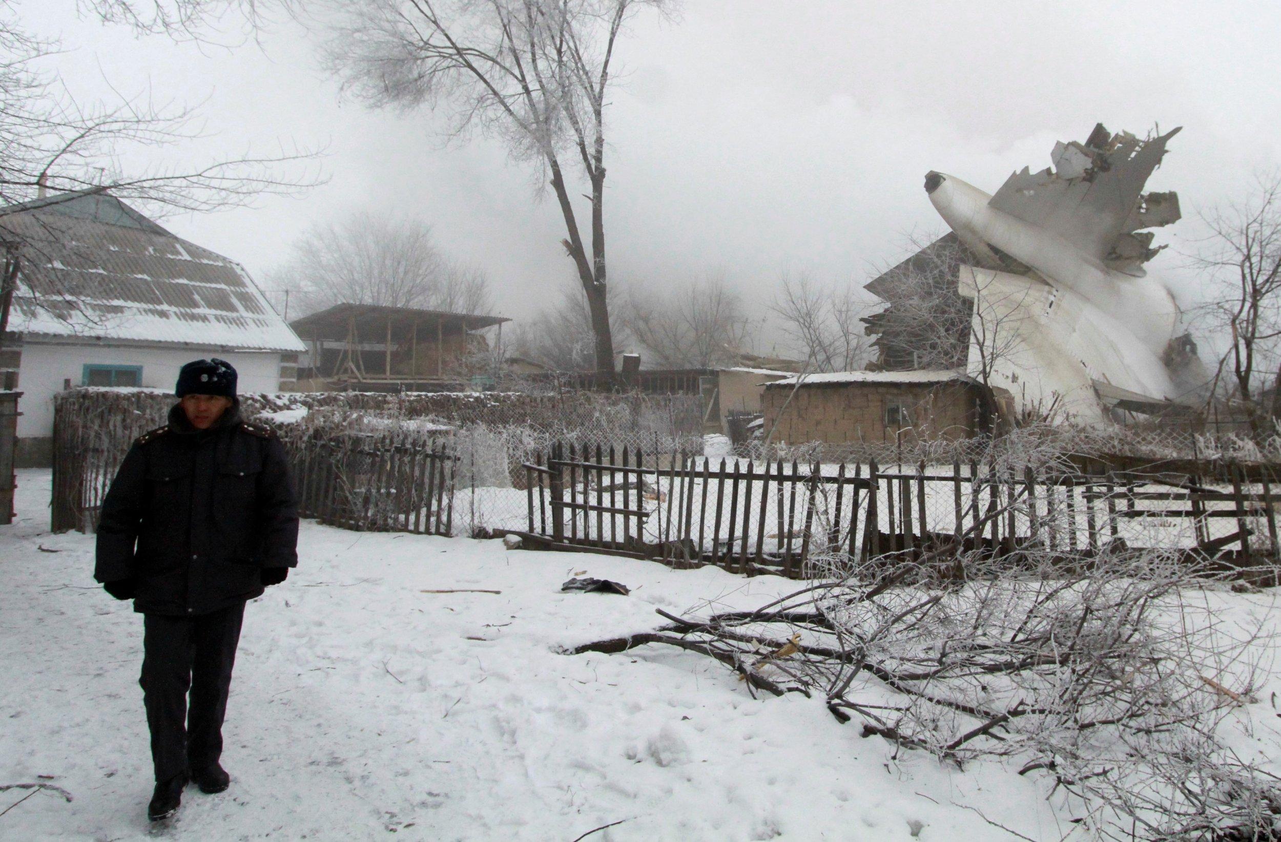 Plane wreckage in Kyrgyzstan