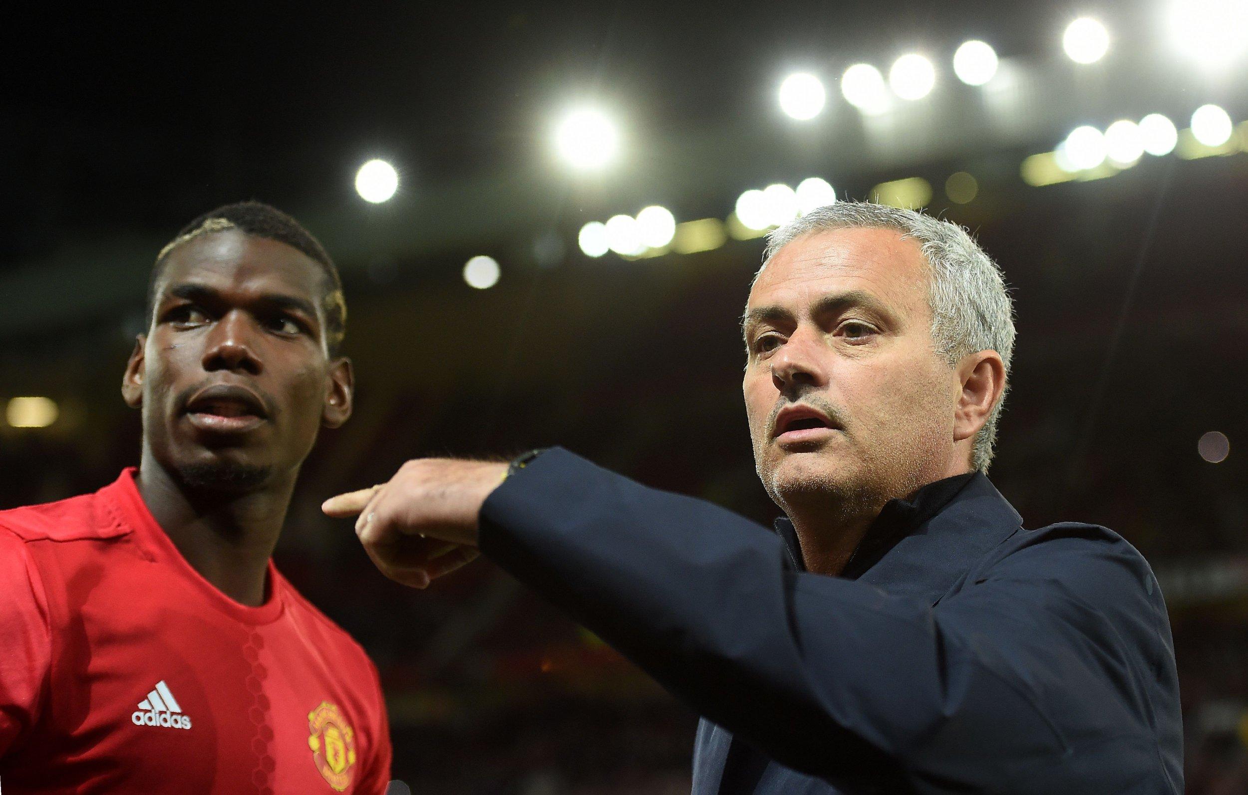 Paul Pogba, left, with Jose Mourinho.
