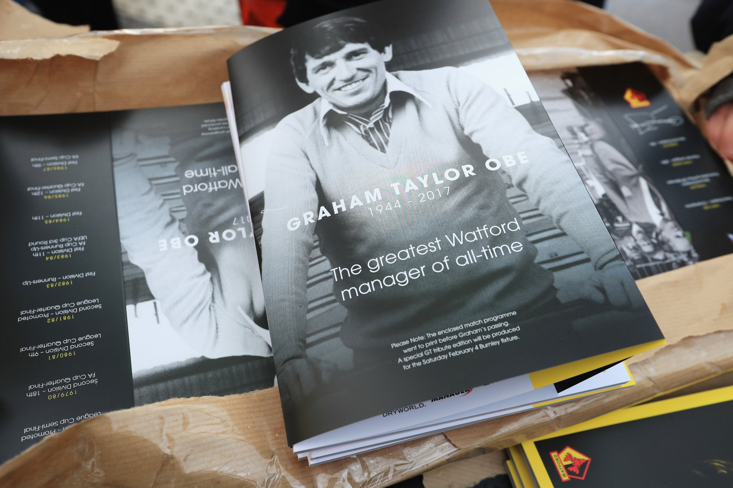 A programme at Vicarage Road dedicated to Graham Taylor.