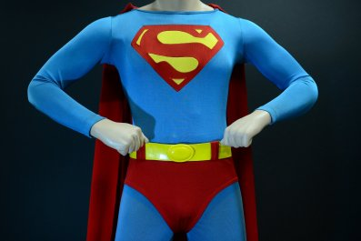 Superman costume worn by Christopher Reeve