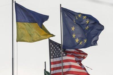 Ukrainian, U.S. and EU flags