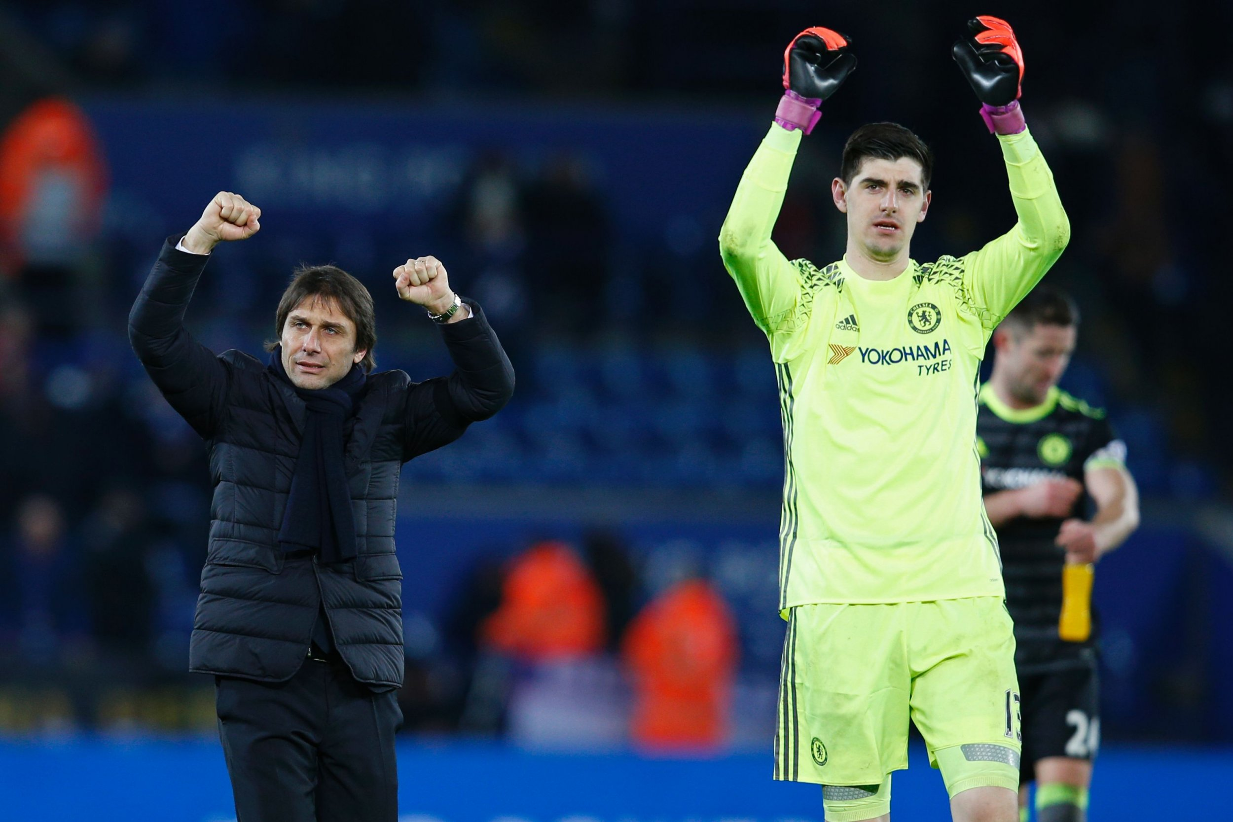 Chelsea goalkeeper Thibaut Courtois, right.