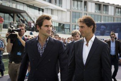 Roger Federer, left, with Rafael Nadal.