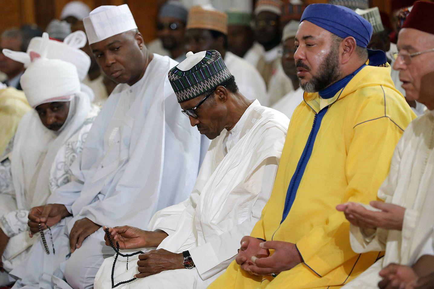 Saraki, Buhari and King of Morocco