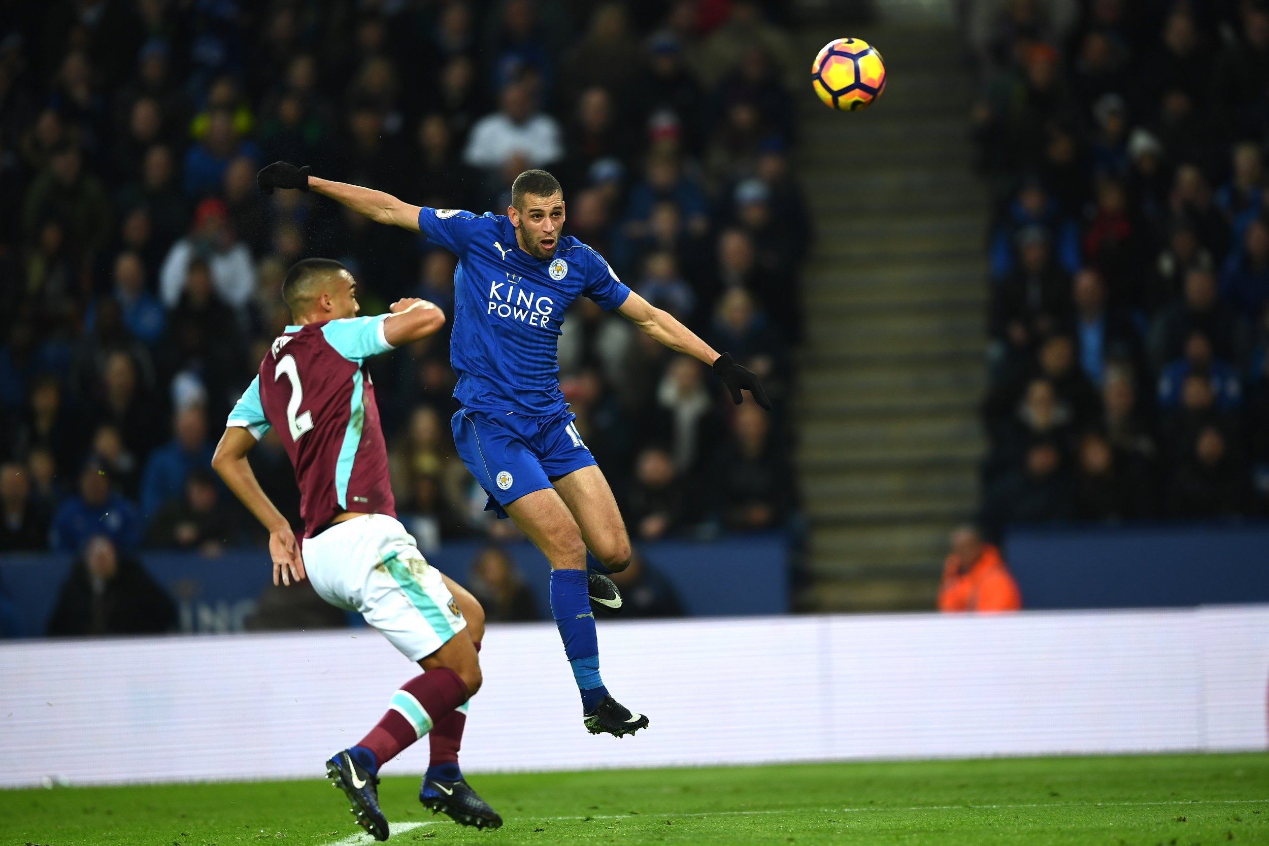 Leicester City striker Islam Slimani at the King Power Stadium, Leicester, England.