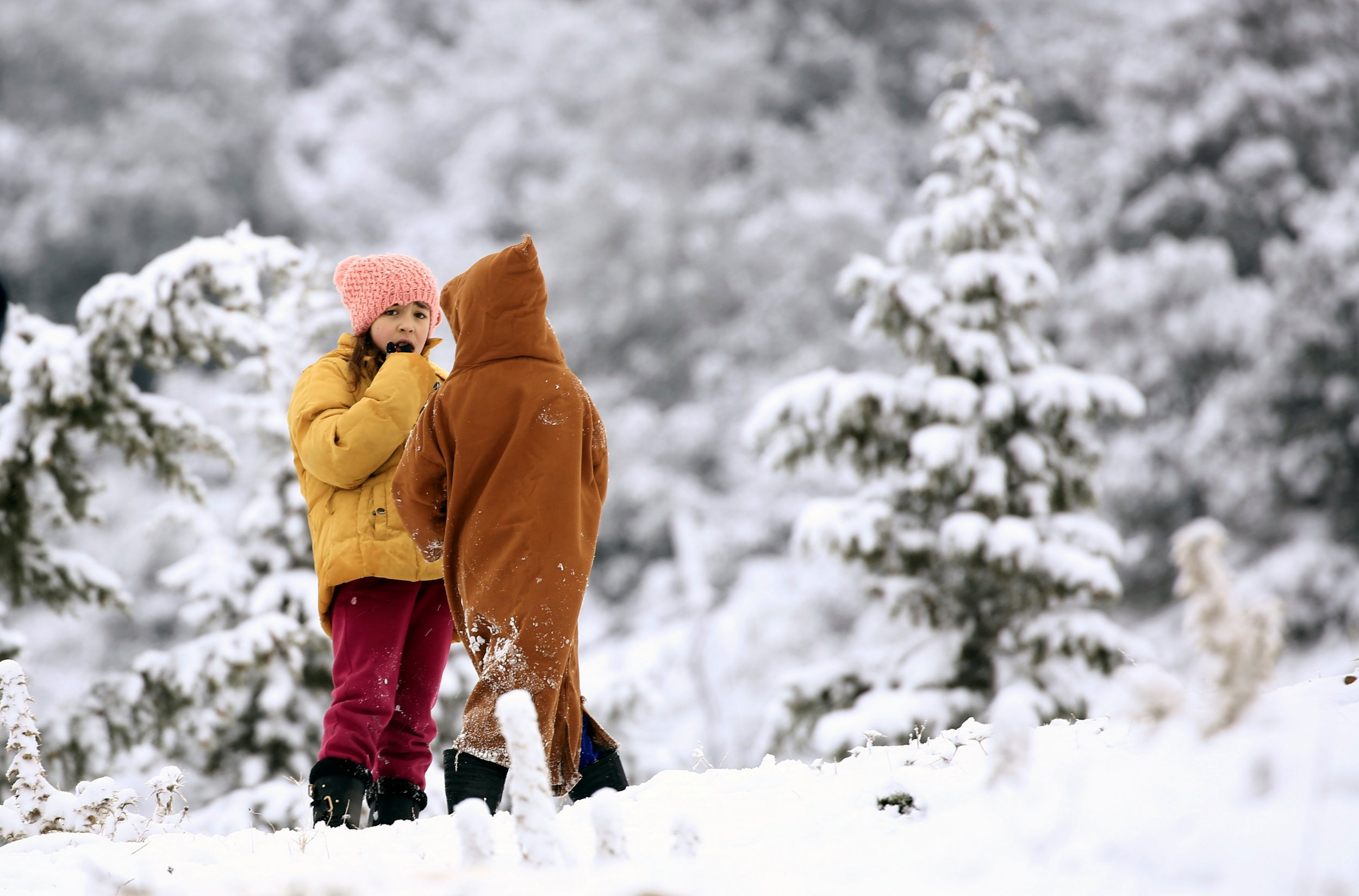 Children talking in the snow