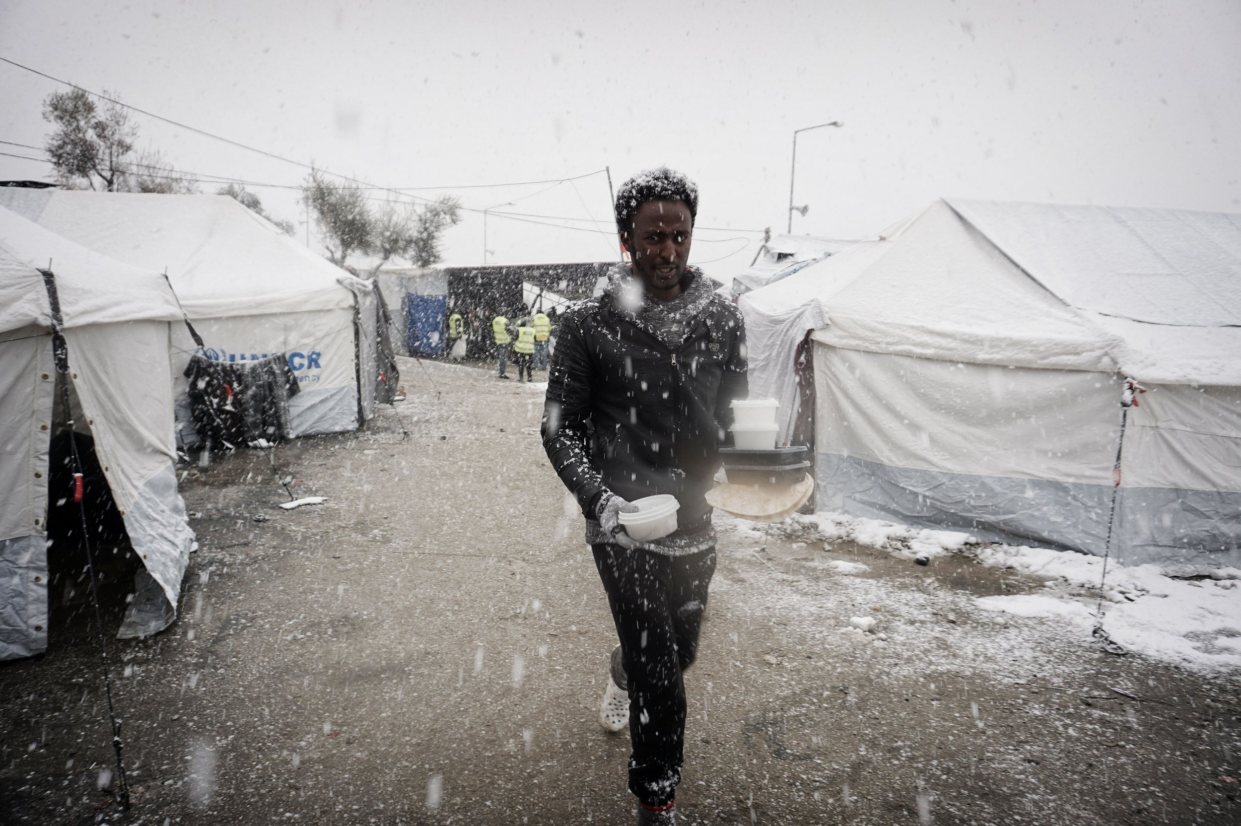 Lesbos migrant camp snow