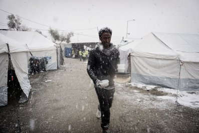 Lesbos migrant camp snow