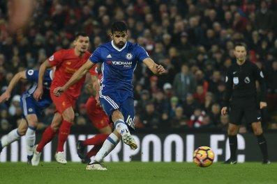 Chelsea striker Diego Costa, center.