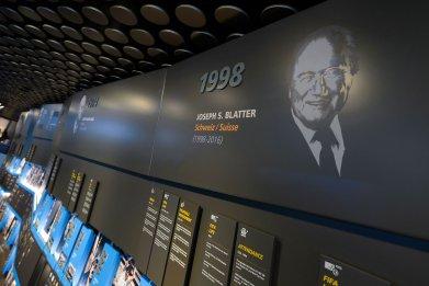 A portrait of former FIFA president Sepp Blatter.